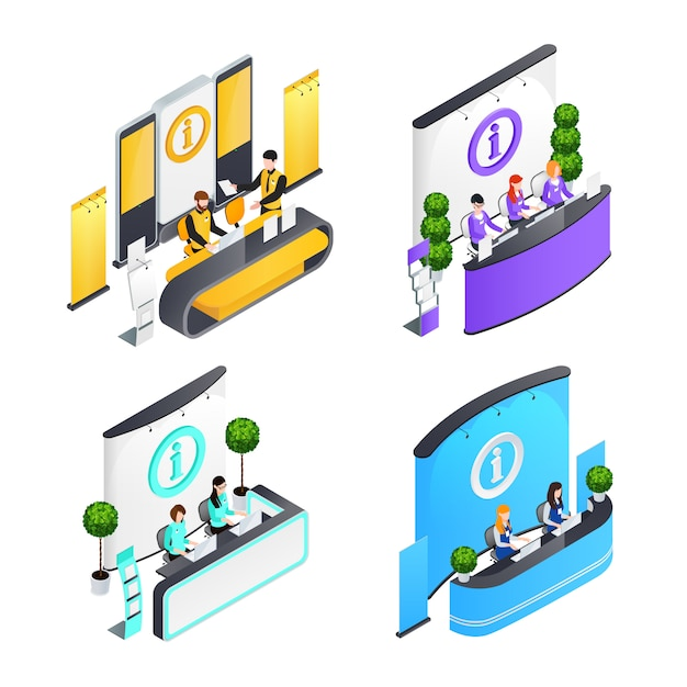 Information desks isometric compositions Free Vector