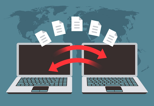 Information exchange between computers. file transfer, data management and backup files vector concept Premium Vector
