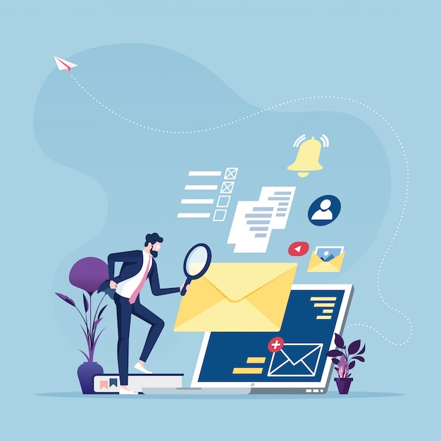 Information search - businessman with magnifying glass looking for information online Premium Vector