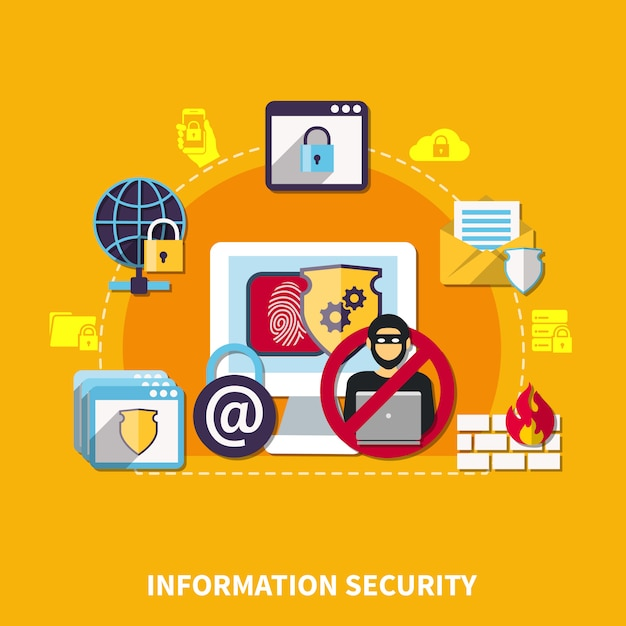 Information security concept Free Vector