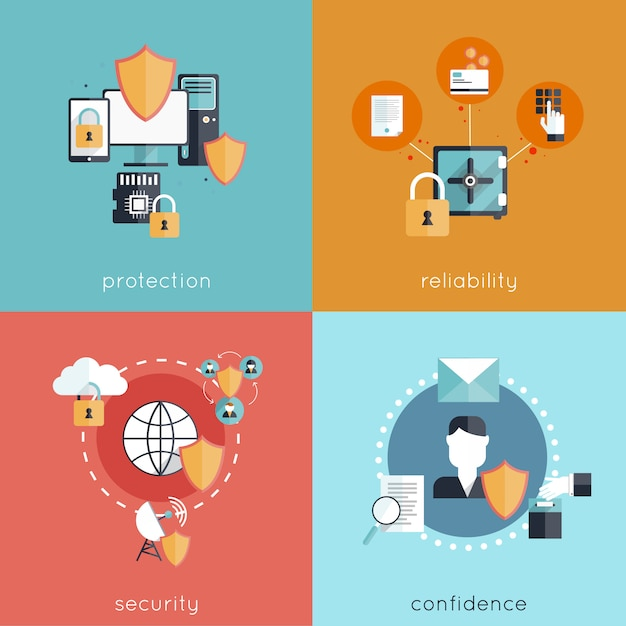 Information security design concept set Free Vector