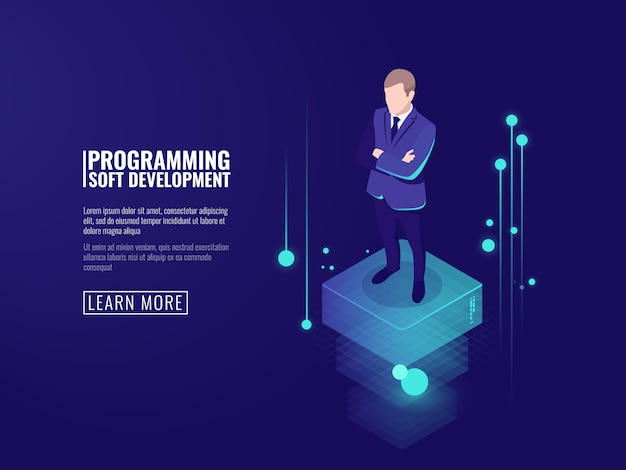 Information security, a man in a business suit, a stream of data Free Vector