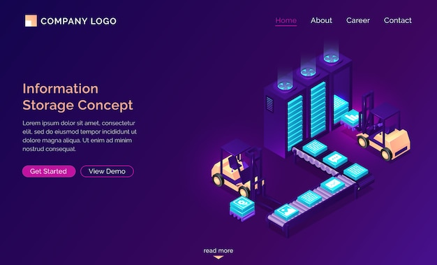 Information storage isometric concept, technology Free Vector