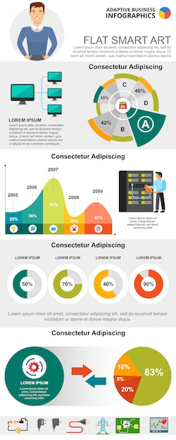 Information technologies concept infographic\ charts set