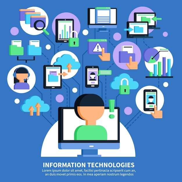 Information technologies flat illustration Free Vector