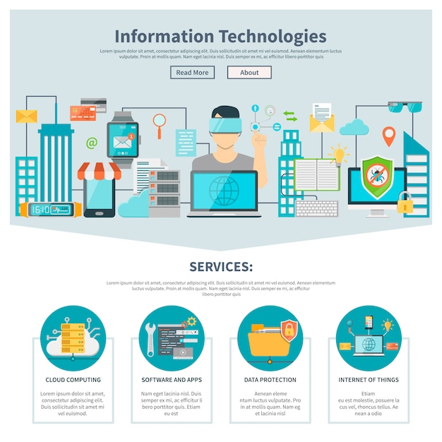 Information technologies one page website Free Vector
