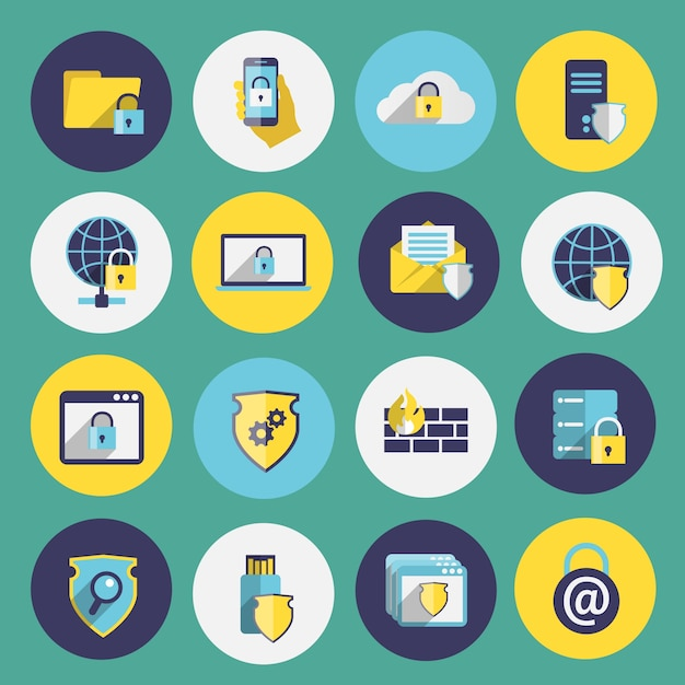 Information technology security flat icons set\ of computer mobile firewall protection isolated vector\ illustration