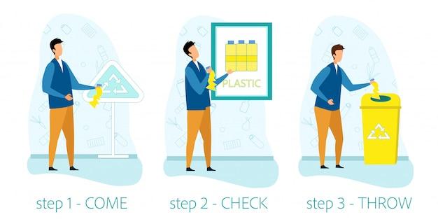 ゴミのリサイクルのための情報援助のインフォグラフィック Premiumベクター