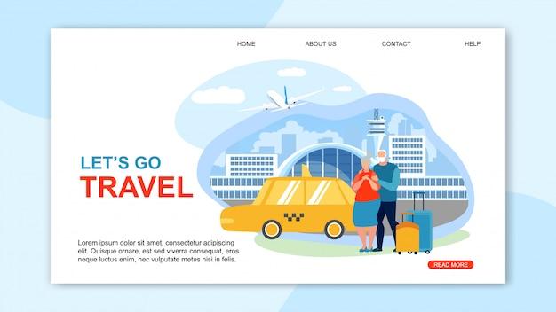 Informational flyer is written lets go travel. Premium Vector
