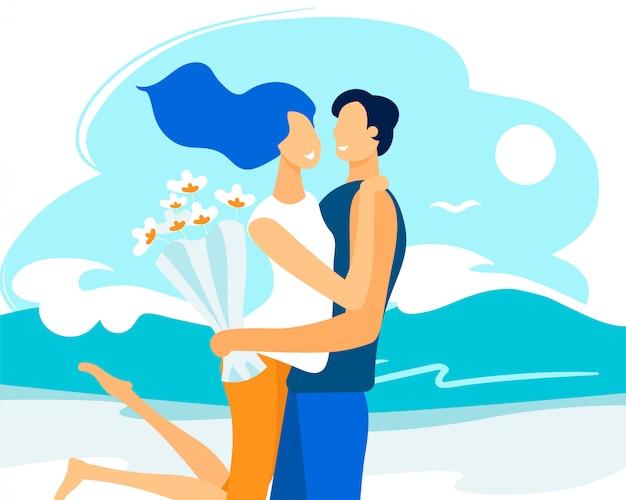 Informational flyer meeting couple in love flat. Premium Vector