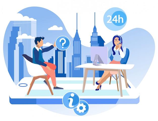 Informational flyer office call center cartoon Premium Vector