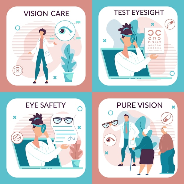 Informational illustration set foe vision care. Premium Vector