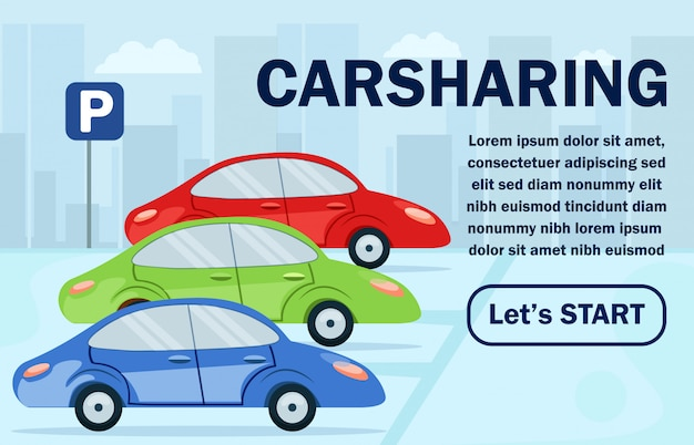Informational poster carsharing lettering flat. Premium Vector