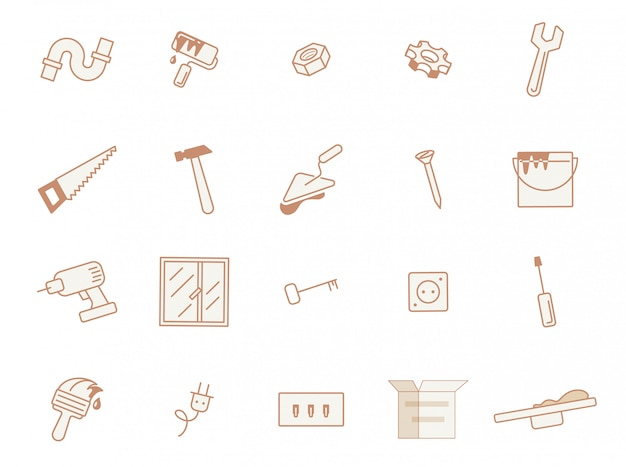 Informational poster set building materials, flat. Premium Vector