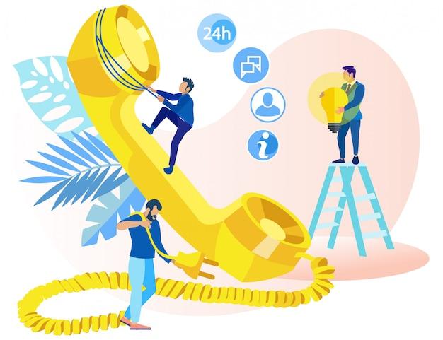 Informational poster telemarketing ideas flat. Premium Vector