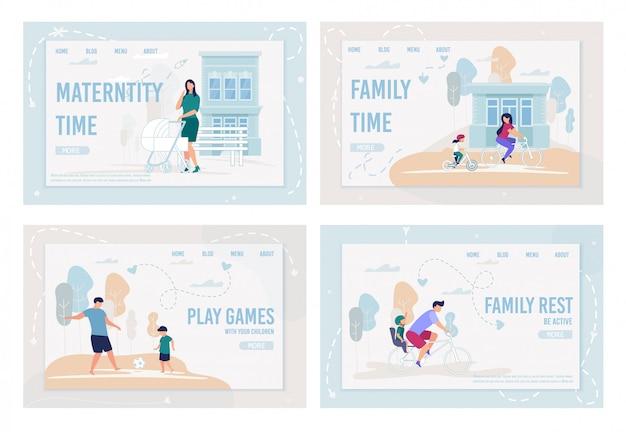 Informational set flyer inscription family time. Premium Vector