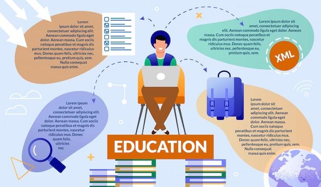 Informative banner guy gets interactive education. Premium Vector