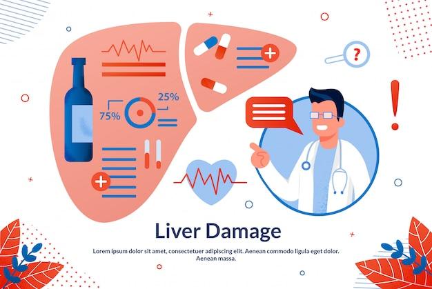 Informative banner is written liver damage flat. Premium Vector