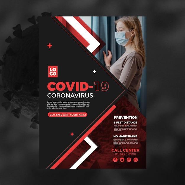 Информационный шаблон флаера о коронавирусе Бесплатные векторы