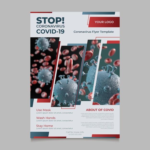 Volantino informativo sul coronavirus con foto Vettore gratuito