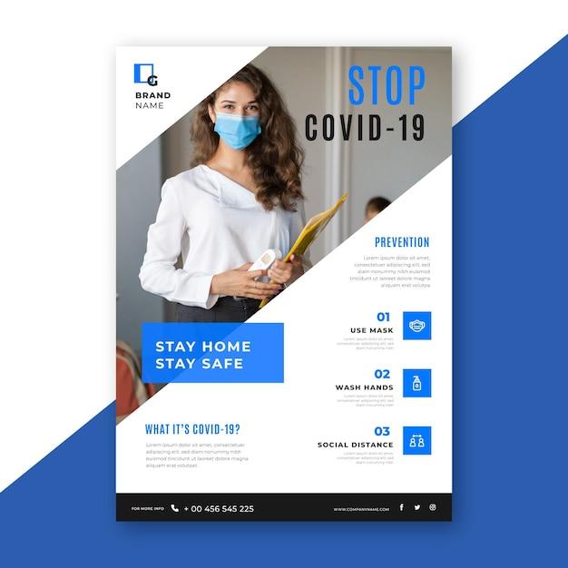 Информационный флаер о коронавирусе с фото Бесплатные векторы