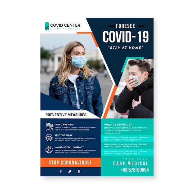 Информационный флаер о коронавирусе Бесплатные векторы