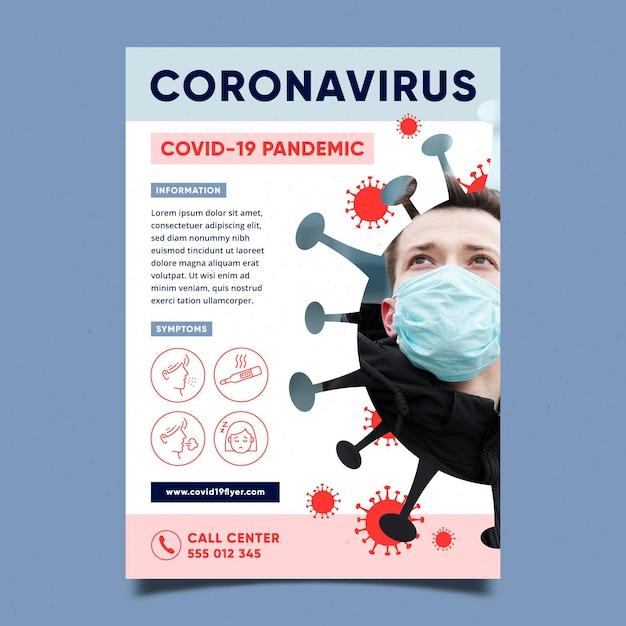有益なコロナウイルスチラシ Premiumベクター