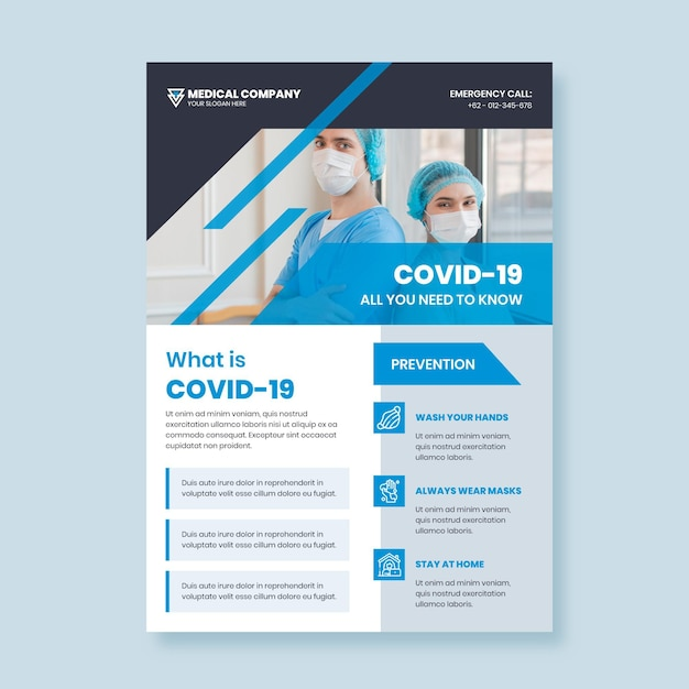 Informative covid-19 poster template with picture Free Vector
