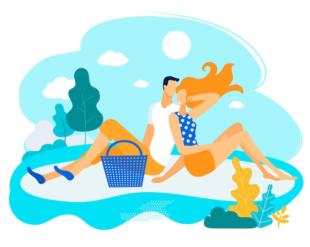 Informative flyer man with woman on picnic flat. Premium Vector