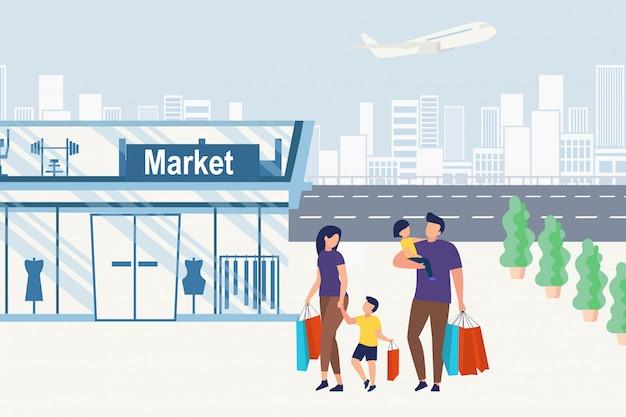 Informative poster family goes shopping, cartoon. Premium Vector