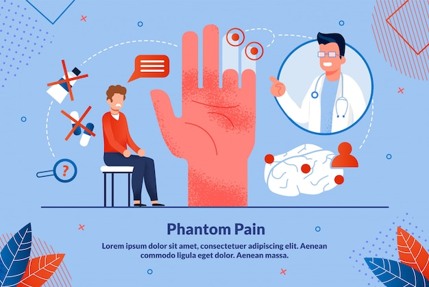 Informative poster is written phantom pain flat. Premium Vector