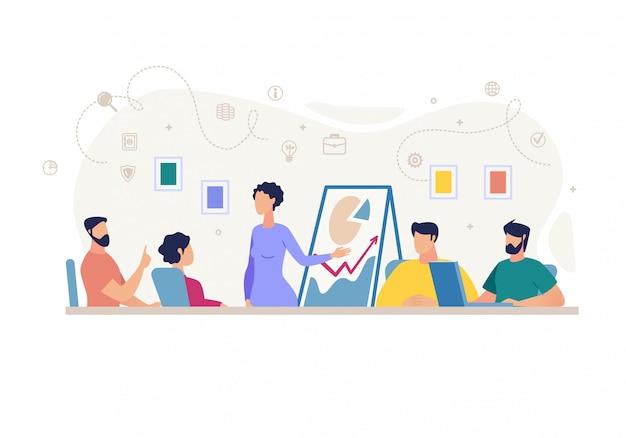 Informative poster meeting report cartoon flat. Premium Vector