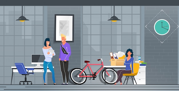 Informative poster moving to new office cartoon. Premium Vector