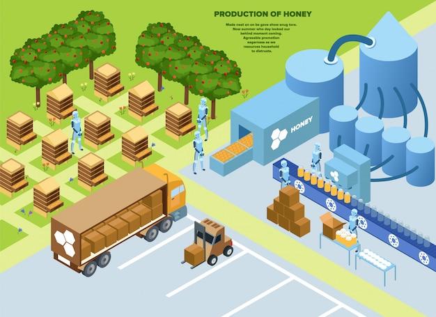 Informative poster production honey isometric. Premium Vector