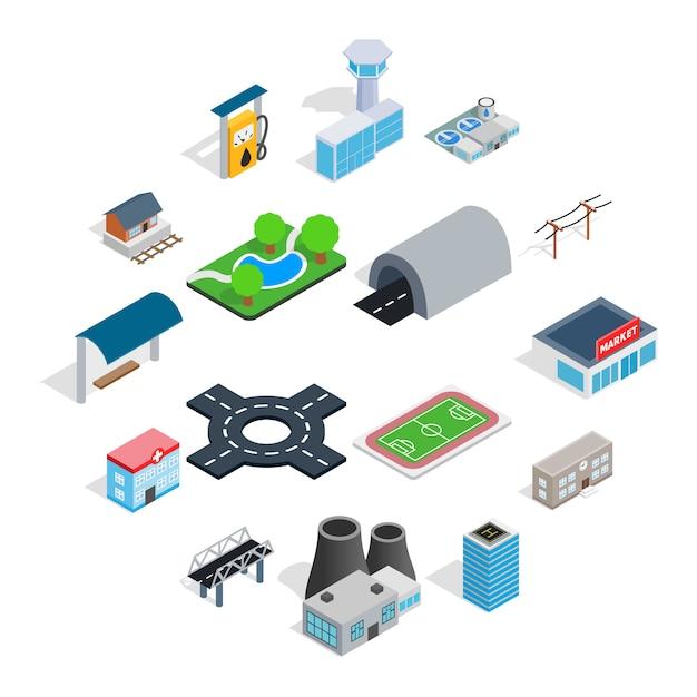 Infrastructure icons set, isometric 3d style Premium Vector