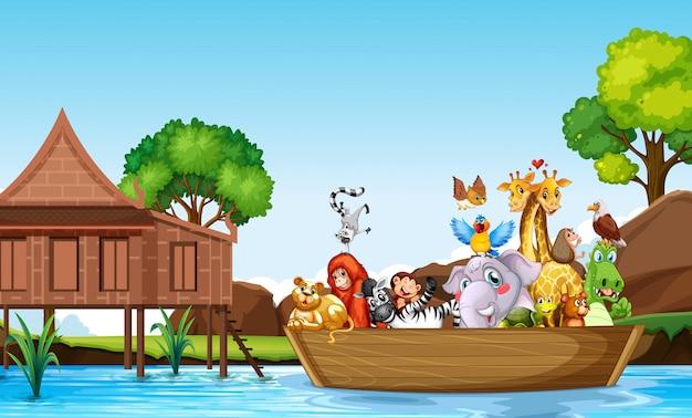 多くのかわいい動物の手ingぎボート 無料ベクター
