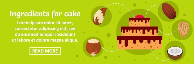 Ingredients for cake banner template horizontal concept Premium Vector