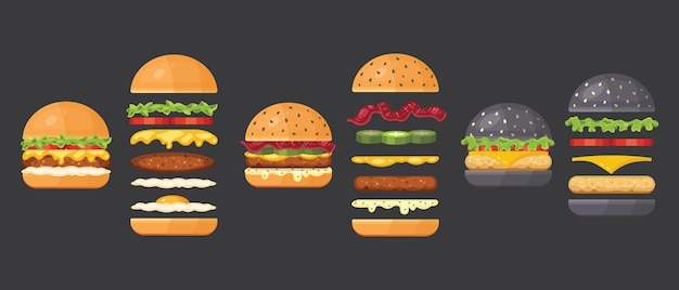 白で隔離の古典的なハンバーガーの材料。具材まんじゅう、カツレツ、チーズ、ベーコン、ソース、まんじゅう、トマト、玉ねぎ、きゅうり、生ハム。ハンバーガーのファーストフードの材料。 Premiumベクター