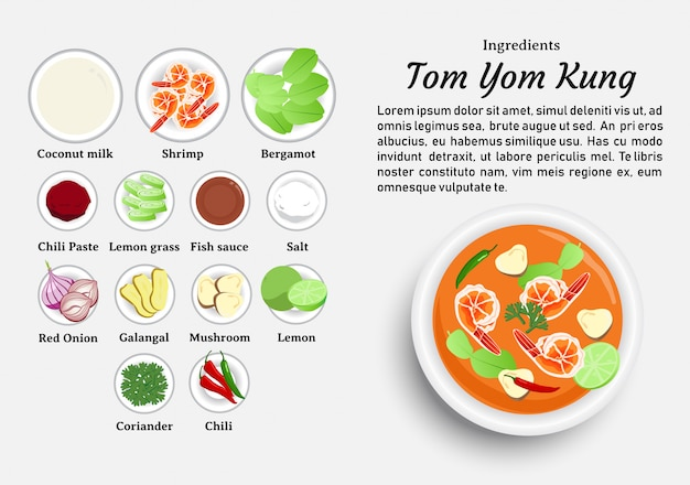 Ingredients of tom yum kung Premium Vector