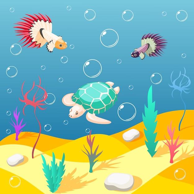 Inhabitants of underwater world background Free Vector