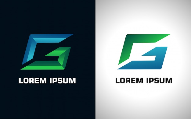 Initial blue and green letter g logo in two versions Premium Vector