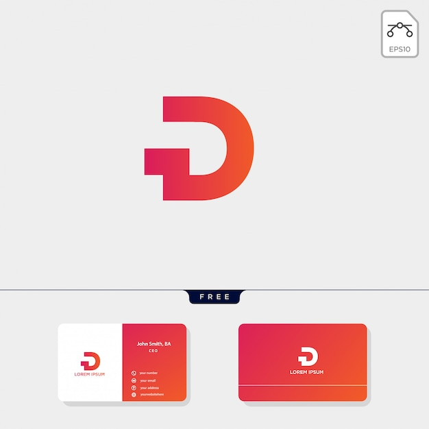 Initial d logo template, business card design template include Premium Vector