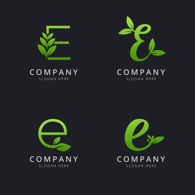 Initial e logo with leaf elements in green color Premium Vector