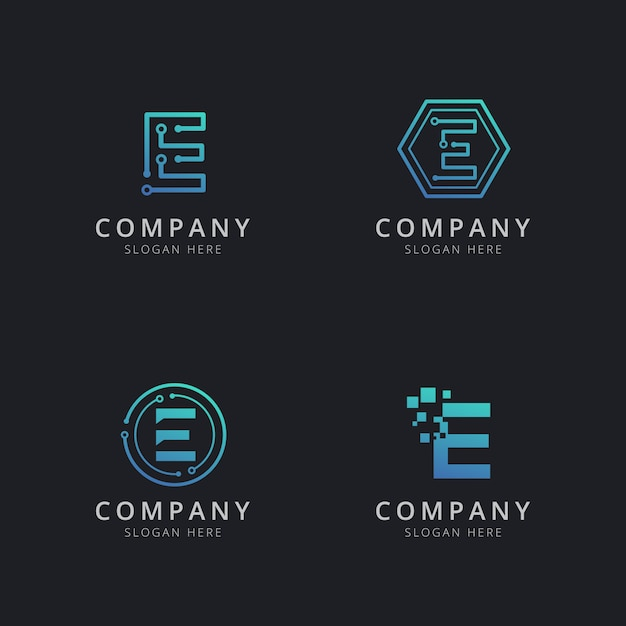 Initial e logo with technology elements in blue color Premium Vector