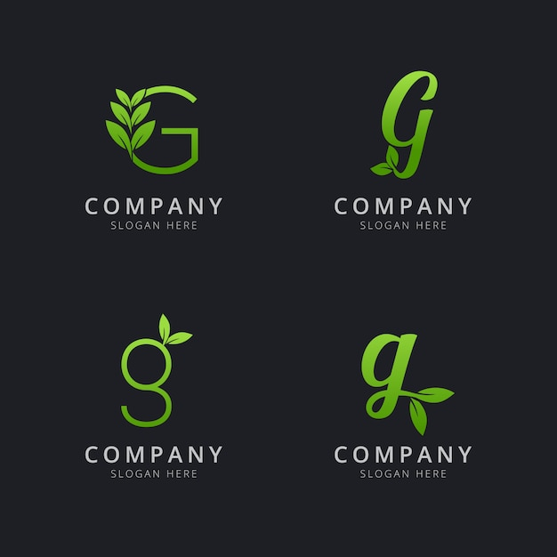 Initial g logo with leaf elements in green color Premium Vector