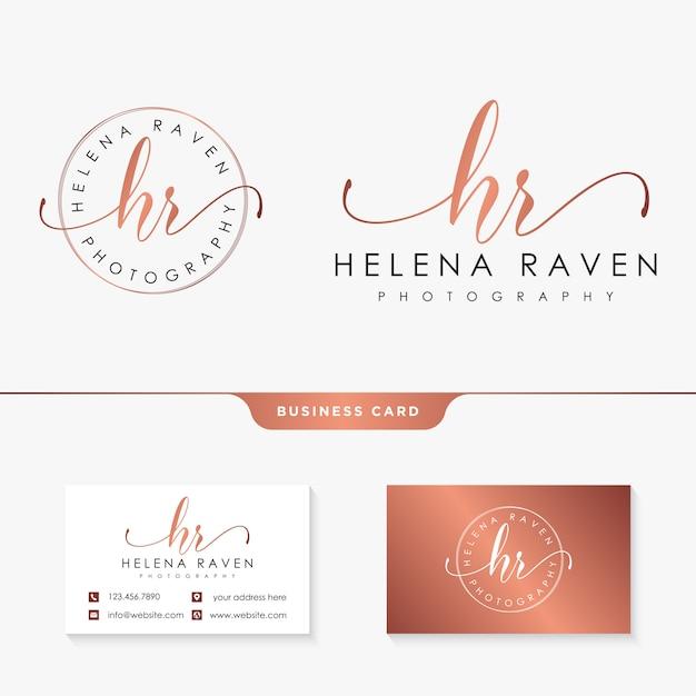Initial hr feminine logo collections template Premium Vector