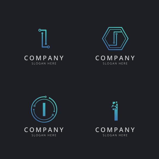 青色のテクノロジー要素を含む最初のiロゴ Premiumベクター