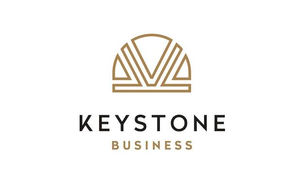 Initial k and keystone image logo design Premium Vector