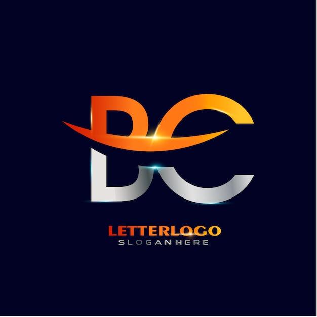 Logo iniziale della lettera bc con design swoosh per il logo aziendale e aziendale. Vettore gratuito