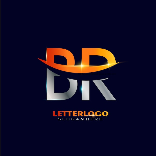 Logo iniziale lettera br con design swoosh per il logo aziendale e aziendale. Vettore gratuito